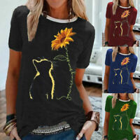 Womens Holiday Tee Ladies Loose Blouse Casual Sunflower Cat Shirt Tops Summer UK