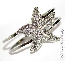Aurora Borealis Starfish Hinged Cuff Bracelet Resort Glam Clear Crystals Beach