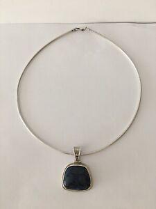 Vintage Sterling 925 Modernist Blue Stone Bib Necklace