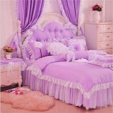 100% Cotton Princess Bedding Sets Lace Bedskirt bedding girls Duvet cover set