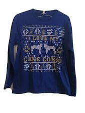 "Large Men's Blue Long Sleeve Tshirt ""I Love My Cane Corso"" Winter Theme"