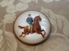 Antique Horse Bridle Rosette Brass Domed Glass Essex Crystal Button Pin Brooch