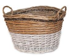 Rattankorb natur/weiß groß Aufbewahrungskorb Henkel Griff Basket Dekoration