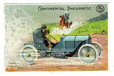POSTCARD GERMAN CONTINENTAL TIRES AUTO SPEEDS PAST HORSEBACK SOLDIER