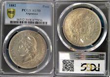 Argentina 1882 Peso, Rare High Grade PCGS 50 PQ, Sharp Detail/Luster Fields
