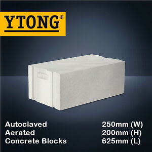 YTONG Autoclaved Aerated Concrete AAC Hebel Blocks (625mm x 250mm x 200mm)
