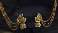Indian Bollywood Jewelry Gold Plated Wedding Wear Traditional Polki Earring Set)