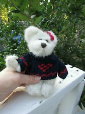 Boyds Bear Darling White Bear With Blue & Red Sweater And Bow Tag 7 In