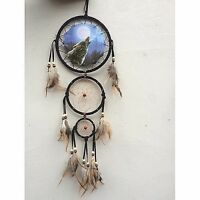 """New 20"""" Long Wolf Howl Moon Dream Catcher Wall Hang Decor Feathers Beads Gift"""