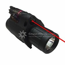 New LED Flashlight Light and Red Laser Dot Sight Combo Set Tactical Hunting
