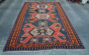 F2741 Vintage Handmade Tribal Kelim Shirazi Area Caucasian Rug 6 x 9'2 Feet