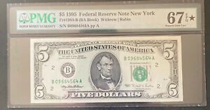 1995 $5 NEW YORK BANKNOTE PMG SUPERB GEM UNCIRCULATED 67 EPQ STAR DESIGNATION