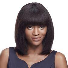 Efia Human Hair Wigs Kinky Straight Yaki Fringe Wig Indian Remy Hair Bangs