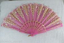 Spanish Style Dance Wedding Party Lace Brocade Gold Flower Folding Hand Held Fan