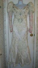 Eve of Milady Ivory Beaded Long Lace Sleeve Wedding Dress w/Train; #1065: Size 6