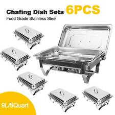 6 Pack Chafing Dish Sets Buffet Catering Stainless Steel W/Tray Folding Chafer
