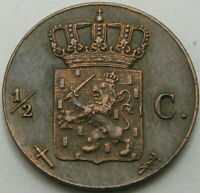 NETHERLANDS 1/2 Cent 1863  Copper  XF