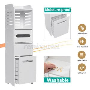 Bathroom Bath Toilet Paper Towel Storage Narrow Corner Cabinet Organizer Home US