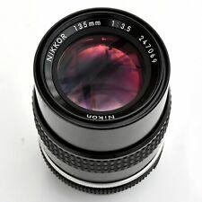 Nikon Nikkor 135mm f/3.5 AI Sup'r shp Mn'l Focus Lens. NearMint. See test Images