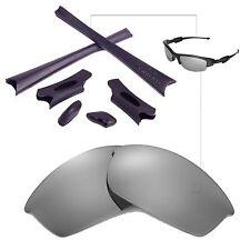 WL Polarized Titanium Replacement Lenses Black Rubber Kit For Oakley Flak Jacket