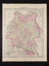 1863 CIVIL WAR  MAP OF RUSSIA JOHNSON'S  ATLAS, w/ C.O.A.,ORIGINAL ANTIQUE VGC