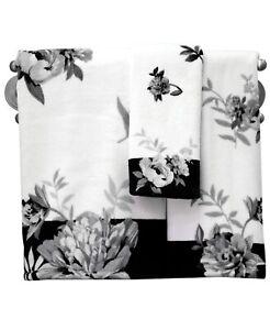 """Lenox Bath 100% Cotton Moonlit Garden 27"""" x 50"""" Floral Bath Towel  Black / White"""