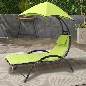 Chair Lounger Garden Sun Recliner Outdoor Patio Beach Day Bed Deck Chair & Shade