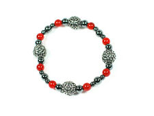 Handmade Carnelian and Celtic design pewter spheres  bracelet, Viking, Celtic
