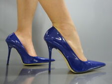 MADE IN ITALY SEXY LUXUS HEELS POINTY PUMPS SCHUHE LEATHER DECOLTE BLAU BLUE 42