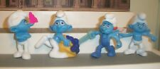 Mcdonalds Smurf PVC Figures Cake Toppers  Lot of 4 HANDY GREEDY & 2 GROUCHYS 3""