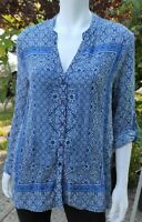 Tolani Collection Blue Printed V-Neck Blouse Top Long Sleeve Button Down L