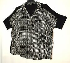 BLACK WHITE LADIES CASUAL PARTY TOP BLOUSE SIZE 16 NEXT STRETCHY
