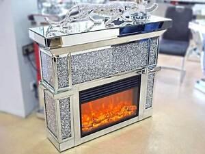 Kamin Spiegel Silber Elektrisch Flammen Fernbedienung Verspiegelt Luxus Kristall