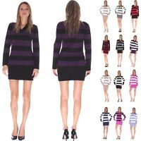 New Ladies Stripe Knitted Jumper Cardigan Top Long Sleeve Dress Plus Size 8-20