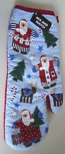 New listing Christmas Holiday Kitchen Cotton Oven Mitt Green Santa Reindeer Blue Tree Gifts