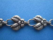 "Bracelet Jewelry Antique Gold - Flower Leaves - 7 1/2"" Long"