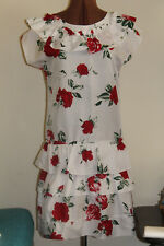 Vintage ladies dress,1980's, red roses on white,size 10