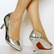 femmes verni talon moyen fête mariage décontracté escarpin chaussures size-5972