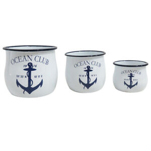 Set of 3 Enamel Nautical Theme Pots Featuring White and Blue Anchor Design