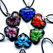 FREE Wholesale Lot 6ps Heart Flower Lampwork Glass Pendants Black Cord Necklace
