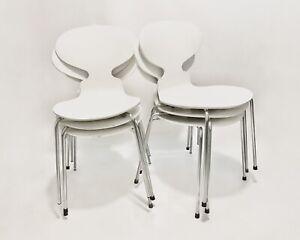 6x Arne Jacobsen By Fritz Hansen White Ant Chairs 3101 Denmark Dansish Design