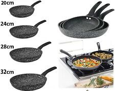 Non Stick Frying Pan GRANITE Marble Coated For Gas Electric Induction Hob Black