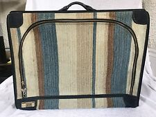 Vintage French Company Luggage California Striped Suede Locking Suitcase