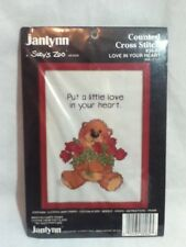 Janlynn Suzy's Zoo Counted Cross Stitch Kit #38-62 LOVE in YOUR HEART Bear Roses