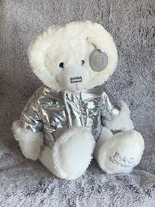 "White Teddy Bear FAO Schwarz Sliver Hooded Jacket 13"" Plush Stuffed New So Soft"