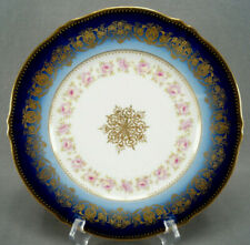 Theodore Haviland Limoges Pink Rose Cobalt & Gold 10 Inch Dinner Plate B