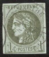 n°39A Bordeaux Cérès 1c olive Report 1 oblitéré CÀD 1870 TB - Signé Calves
