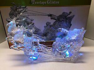 CRACKER BARREL Light Up Santa's Sleigh Treetops Glisten Figure