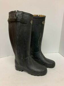 Le Chameau Chasseur Leather-Lined Boots Women's Black EURO 39 US 7.5