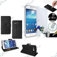 Etui Housse Portefeuille Samsung Galaxy Grand 2 SM-G7106 + 2 Films Verre Trempe